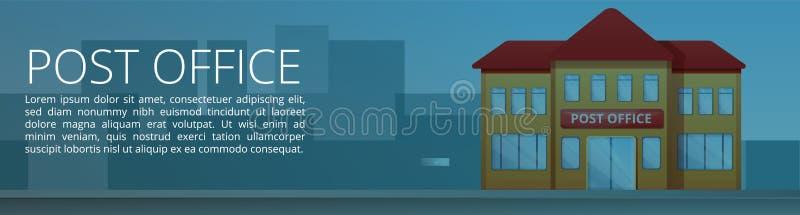 Έμβλημα έννοιας οικοδόμησης ταχυδρομείου, ύφος κινούμενων σχεδίων διανυσματική απεικόνιση