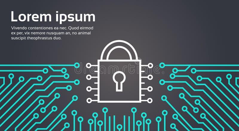 Έμβλημα έννοιας συστημάτων προστασίας δεδομένων δικτύων κλειδαριών απεικόνιση αποθεμάτων