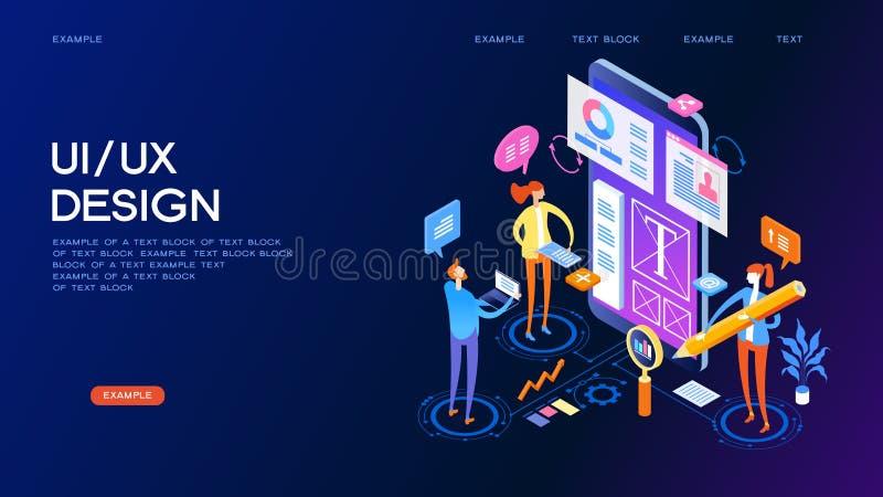 Έμβλημα έννοιας σχεδίου UX UI ελεύθερη απεικόνιση δικαιώματος