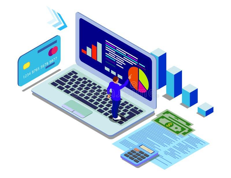 Έμβλημα έννοιας analytics στοιχείων ( Επίπεδες isometric διανυσματικές απεικονίσεις διανυσματική απεικόνιση