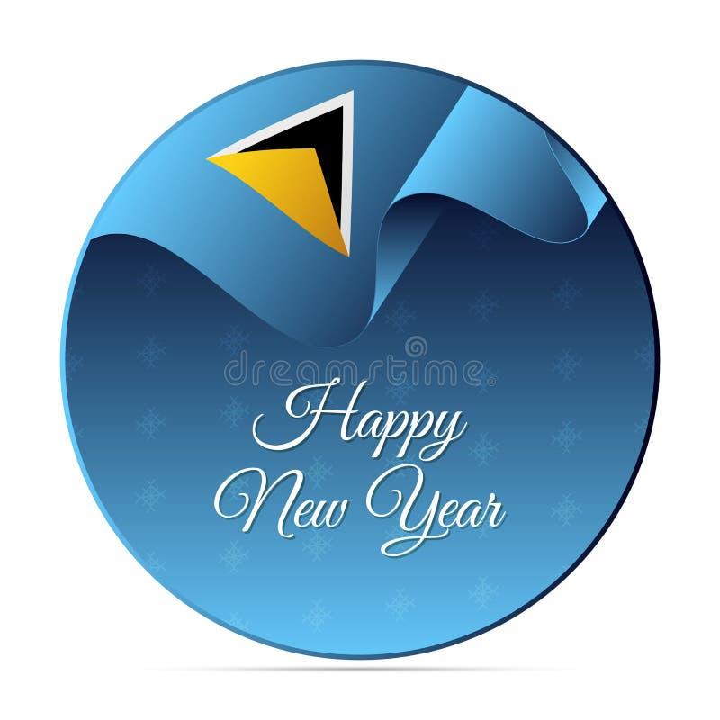 Έμβλημα ή αυτοκόλλητη ετικέττα καλής χρονιάς Κυματίζοντας σημαία Αγιών Λουκία snowflakes απεικόνισης σχεδίου ανασκόπησης διακοσμη διανυσματική απεικόνιση
