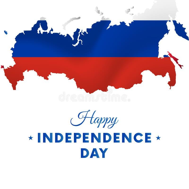 Έμβλημα ή αφίσα του εορτασμού ημέρας της ανεξαρτησίας της Ρωσίας ηπειρωτικός χάρτης πολιτική Ρωσία Κυματίζοντας σημαία επίσης cor απεικόνιση αποθεμάτων