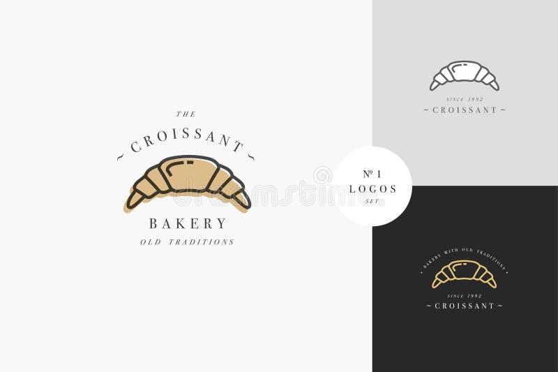 Έμβλημα ή λογότυπο αρτοποιείων Croissant με την τυπογραφία Κατάστημα αρτοποιείων ή κατάστημα ζύμης ελεύθερη απεικόνιση δικαιώματος