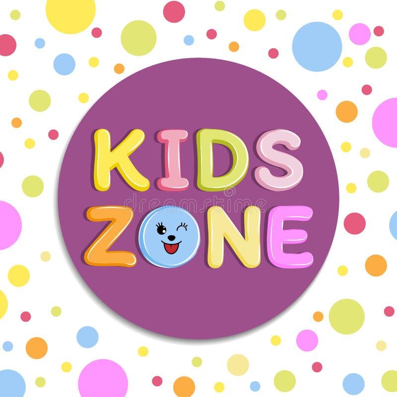 Έμβλημα, έμβλημα ή λογότυπο ζώνης παιδιών αφισών στο ύφος κινούμενων σχεδίων με το χρωματισμένο υπόβαθρο ελεύθερη απεικόνιση δικαιώματος