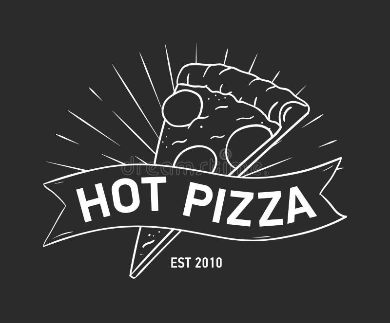 Έμβλημα ή λογότυπο με τη φέτα πιτσών και χέρι κορδελλών, ταινιών ή λουρίδων που επισύρεται την προσοχή με τις γραμμές περιγράμματ απεικόνιση αποθεμάτων