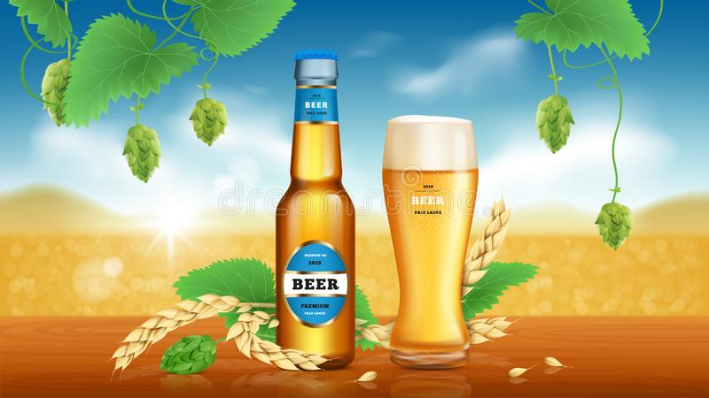 Έμβλημα αγγελιών μπύρας τεχνών σίτου διανυσματική απεικόνιση