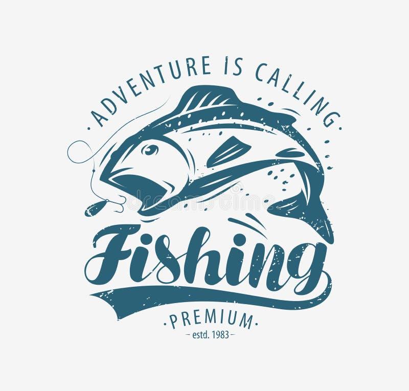Έμβλημα αλιείας Ετικέτα αλιείας Απεικόνιση διανύσματος διανυσματική απεικόνιση