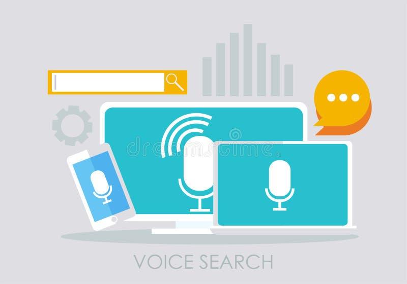 Έμβλημα αναζήτησης φωνής Υπολογιστής, lap-top και τηλέφωνο απεικόνιση αποθεμάτων