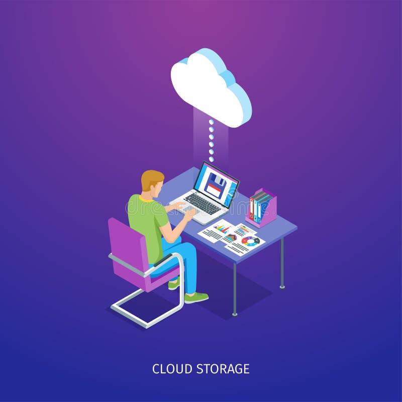 Έμβλημα αποθήκευσης σύννεφων διανυσματική απεικόνιση