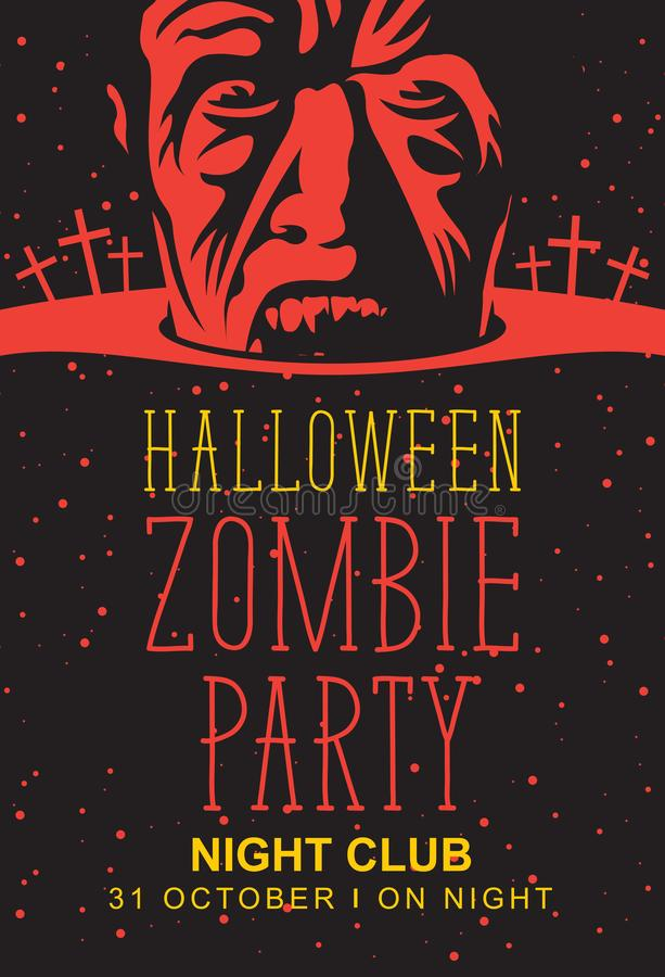 Έμβλημα αποκριών με το zombie, το φεγγάρι και τον τάφο απεικόνιση αποθεμάτων