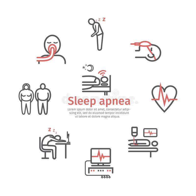 Έμβλημα ασφυξίας ύπνου Συμπτώματα, επεξεργασία Εικονίδια γραμμών καθορισμένα Διανυσματικά σημάδια για τη γραφική παράσταση Ιστού διανυσματική απεικόνιση