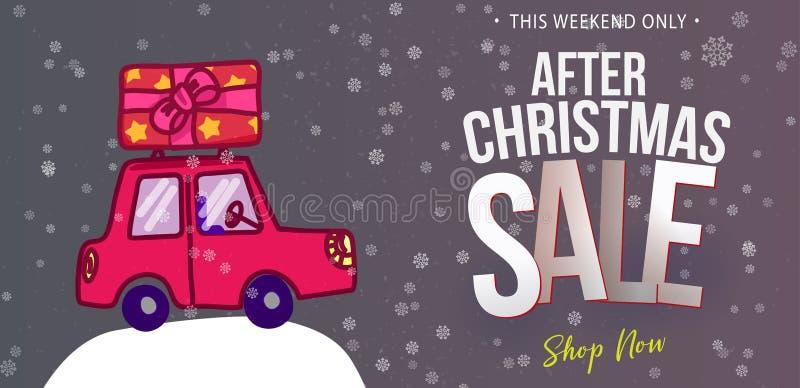 Έμβλημα αυτοκινήτων Doodle για την πώληση Χριστουγέννων απεικόνιση αποθεμάτων