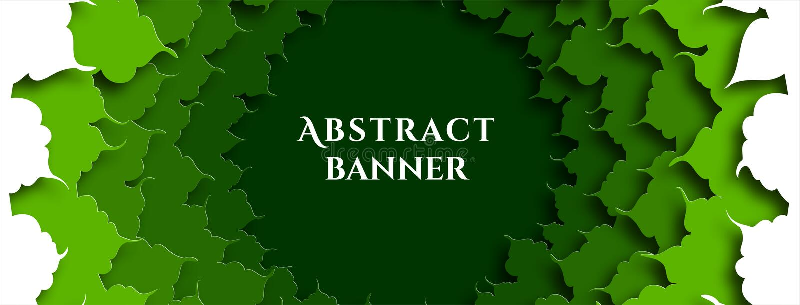 Έμβλημα για τα κοινωνικά καλύμματα δικτύων Πράσινο φύλλωμα Το αφηρημένο υπόβαθρο στο έγγραφο έκοψε το ύφος διάνυσμα απεικόνιση αποθεμάτων