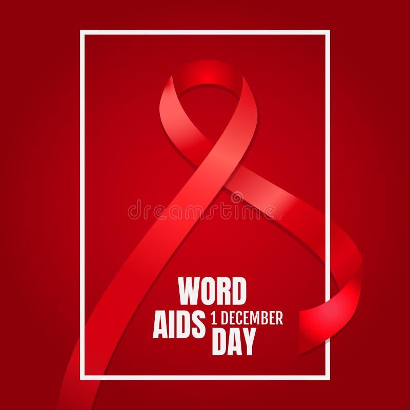 Έμβλημα για την παγκόσμια ημέρα ενάντια στο AIDS επίσης corel σύρετε το διάνυσμα απεικόνισης διανυσματική απεικόνιση