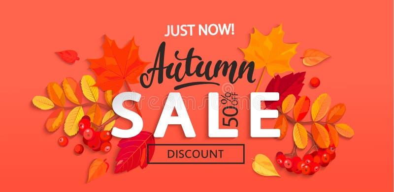 Έμβλημα για την πώληση φθινοπώρου με τα φύλλα πτώσης διανυσματική απεικόνιση