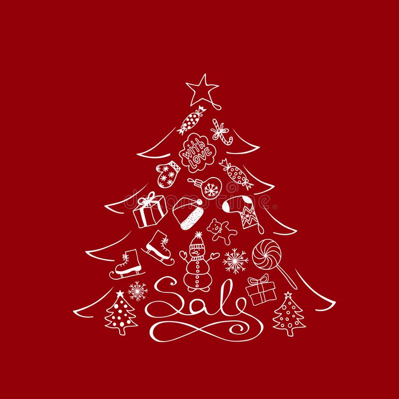 Έμβλημα για την πώληση - χριστουγεννιάτικο δέντρο με τα άσπρα στοιχεία κινούμενων σχεδίων στο κόκκινο υπόβαθρο απεικόνιση αποθεμάτων