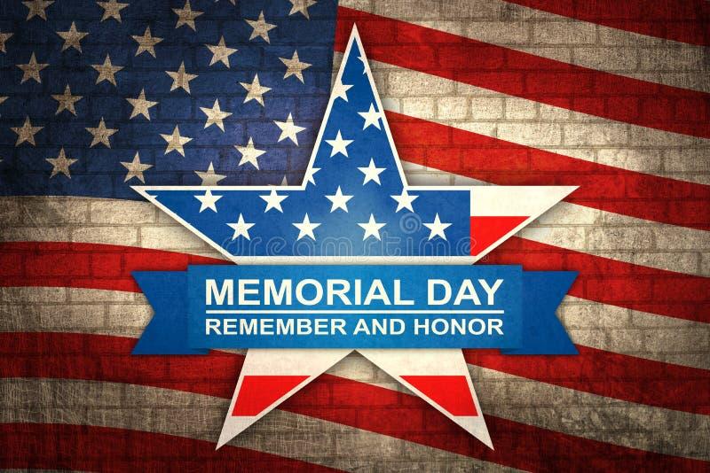 Έμβλημα για τη ημέρα μνήμης με το αστέρι στα χρώματα εθνικών σημαιών Ημέρα μνήμης στο υπόβαθρο αμερικανικών σημαιών διανυσματική απεικόνιση