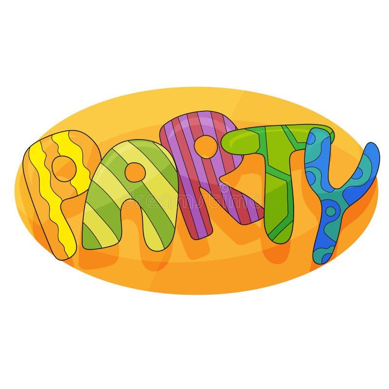 Έμβλημα για το κόμμα παιδιών στο ύφος κινούμενων σχεδίων με το υπόβαθρο Θέση για τη διασκέδαση και το παιχνίδι ελεύθερη απεικόνιση δικαιώματος