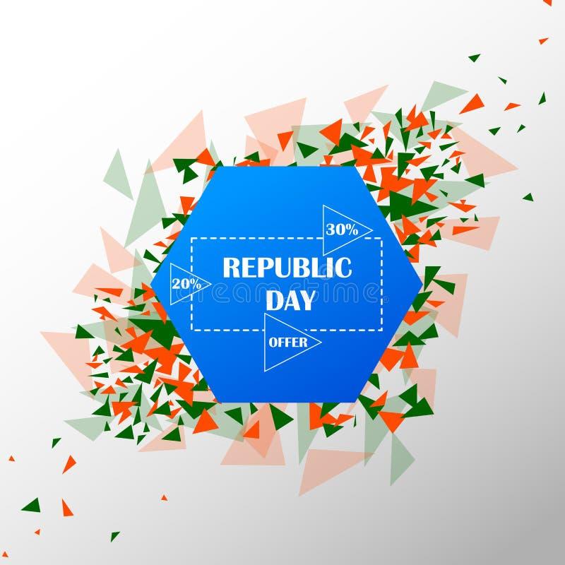 Έμβλημα διαφημίσεων προώθησης πώλησης για την 26η Ιανουαρίου, ευτυχής ημέρα Δημοκρατίας της Ινδίας διανυσματική απεικόνιση
