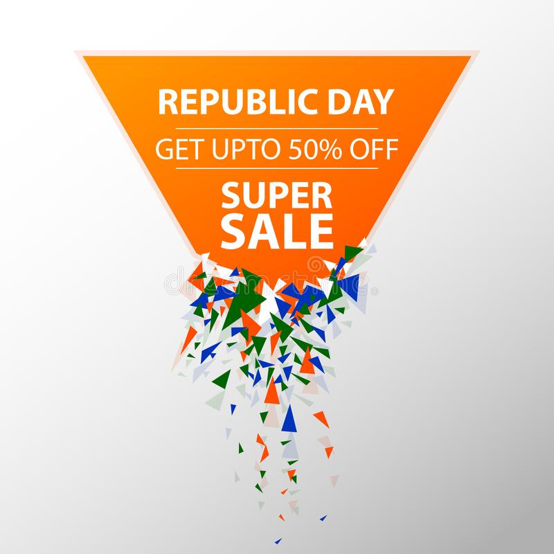Έμβλημα διαφημίσεων προώθησης πώλησης για την 26η Ιανουαρίου, ευτυχής ημέρα Δημοκρατίας της Ινδίας ελεύθερη απεικόνιση δικαιώματος