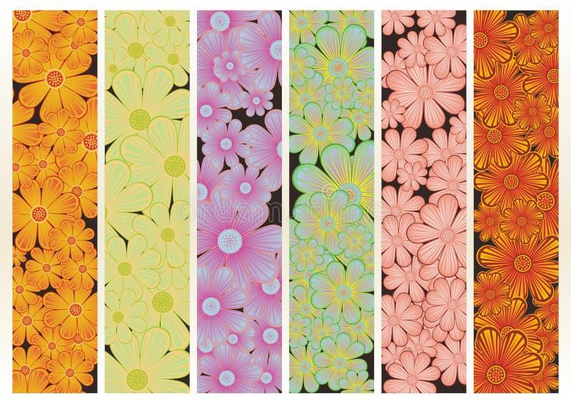 έμβλημα διαφορετικά floral έξι διανυσματική απεικόνιση