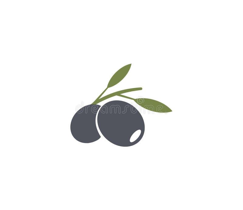 Έμβλημα ελιών Στοιχείο λογότυπων ελαιολάδου Πράσινα κλαδί ελιάς, φύλλα και φρούτα Φυσικό σημάδι τροφίμων απεικόνιση αποθεμάτων