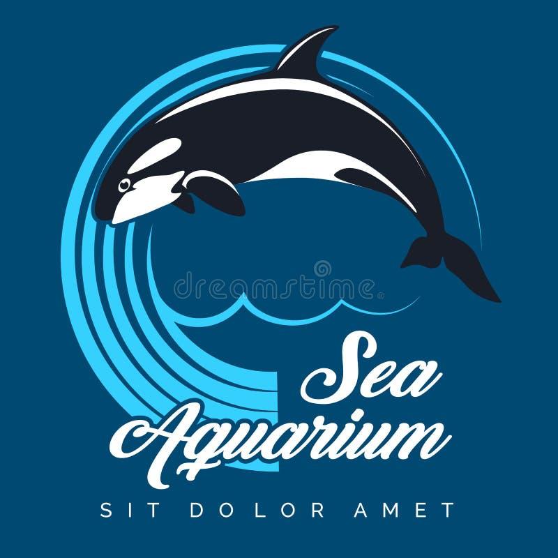 Έμβλημα ενυδρείων θάλασσας με τη φάλαινα δολοφόνων άλματος διανυσματική απεικόνιση