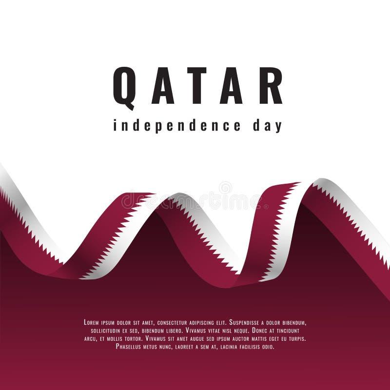Έμβλημα εορτασμού ημέρας της ανεξαρτησίας του Κατάρ με την κορδέλλα διανυσματική απεικόνιση