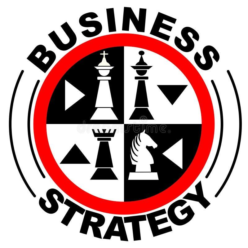 Έμβλημα επιχειρησιακής στρατηγικής μέσα με τα κομμάτια σκακιού στον κόκκινο κύκλο, ελεύθερη απεικόνιση δικαιώματος