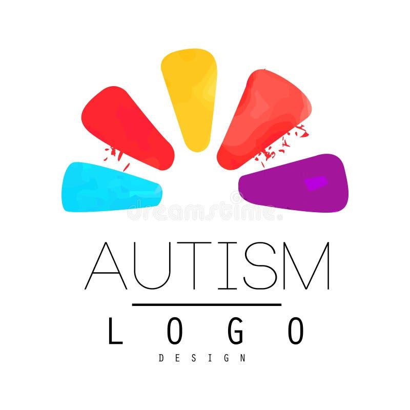 Έμβλημα ημέρας συνειδητοποίησης αυτισμού με τα αφηρημένα πέταλα του λουλουδιού Φωτεινό διανυσματικό λογότυπο για τα ιατρικά κέντρ ελεύθερη απεικόνιση δικαιώματος