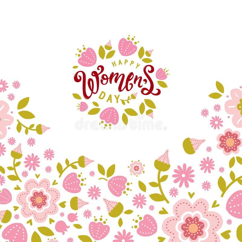 Έμβλημα ημέρας των διεθνών γυναικών, σχέδιο σημαδιών απεικόνιση αποθεμάτων