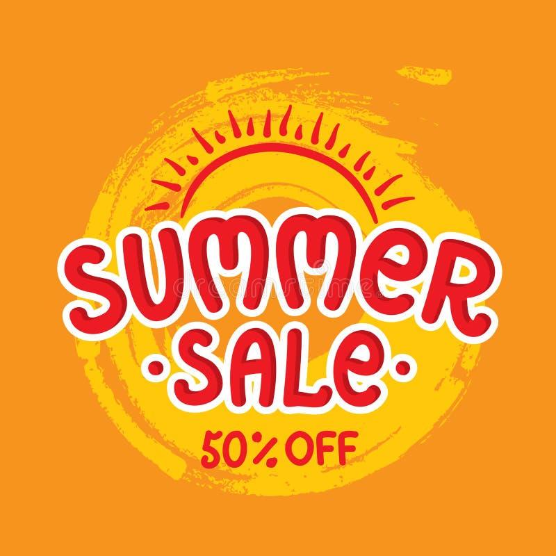 Έμβλημα θερινής πώλησης, αφίσα στο πορτοκαλί υπόβαθρο Ειδική εποχιακή προσφορά διανυσματική απεικόνιση