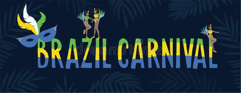 Έμβλημα Ιστού της Βραζιλίας καρναβάλι, πρόσκληση Κείμενο στα βραζιλιάνα χρώματα σημαιών Συρμένη χέρι μάσκα χορευτών και φτερών γυ ελεύθερη απεικόνιση δικαιώματος
