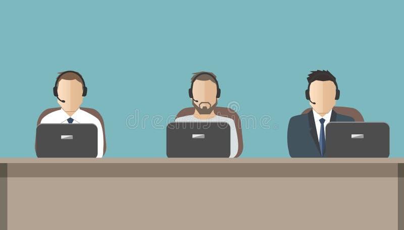 Έμβλημα Ιστού των εργαζομένων τηλεφωνικών κέντρων Υπηρεσία τεχνικής υποστήριξης διανυσματική απεικόνιση