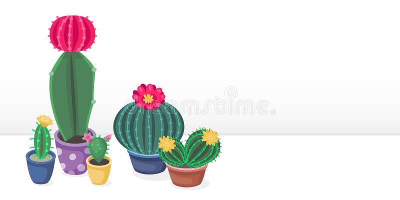 Έμβλημα κάκτων κινούμενων σχεδίων με τους χαριτωμένους ζωηρόχρωμους κάκτους Εγκαταστάσεις ερήμων στα δοχεία και τα succulent λουλ διανυσματική απεικόνιση