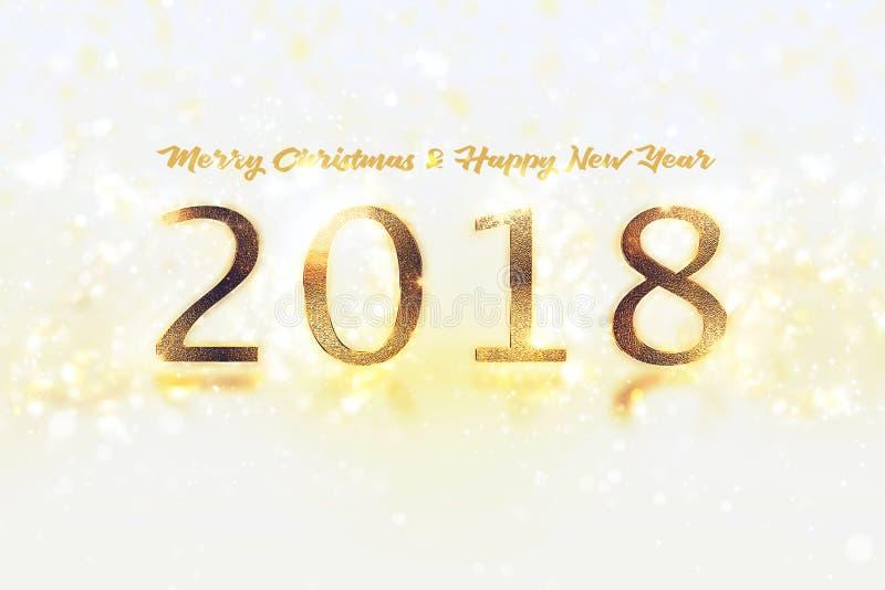 Έμβλημα καλής χρονιάς με 2018 αριθμούς στο φωτεινό υπόβαθρο στοκ εικόνα με δικαίωμα ελεύθερης χρήσης