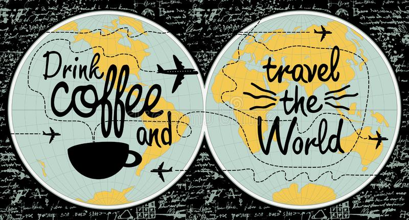 Έμβλημα καφέ στο θέμα του ταξιδιού ο κόσμος ελεύθερη απεικόνιση δικαιώματος