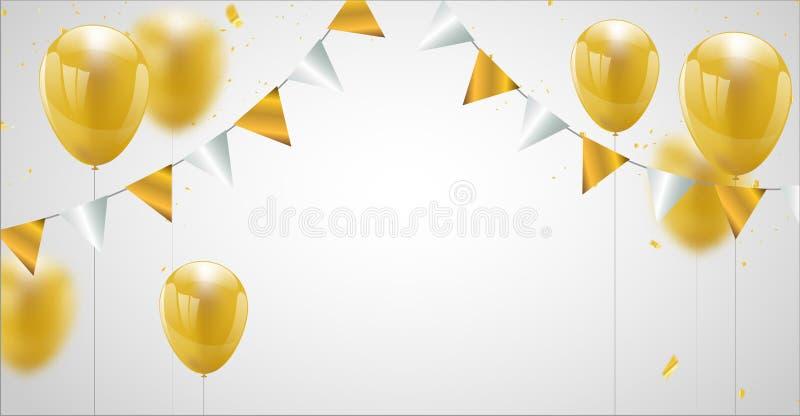 Έμβλημα κομμάτων εορτασμού με το χρυσό υπόβαθρο μπαλονιών Πώληση διανυσματική απεικόνιση