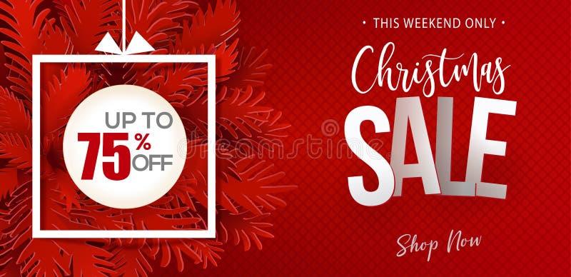 Έμβλημα κόκκινου χρώματος πώλησης Χριστουγέννων διανυσματική απεικόνιση