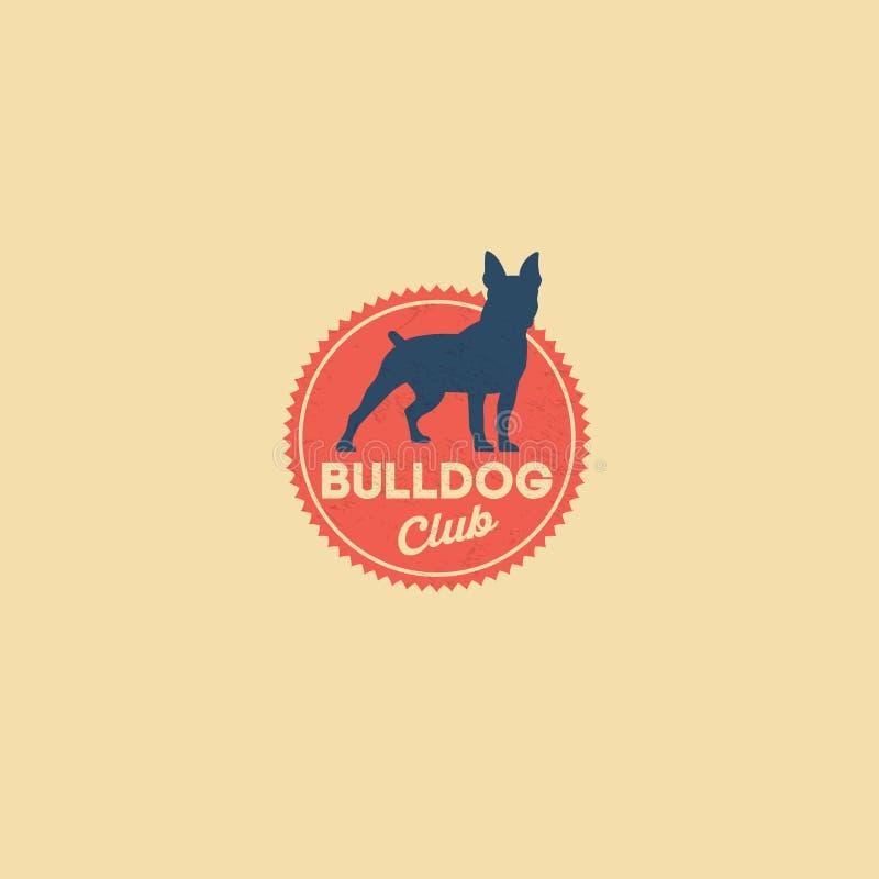 Έμβλημα λεσχών μπουλντόγκ Λέσχη ρείθρων Λέσχη σκυλιών έμβλημα αναδρομικό Σκιαγραφία σκυλιών στο κόκκινο διακριτικό ελεύθερη απεικόνιση δικαιώματος