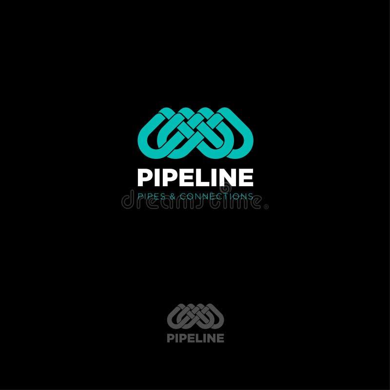 Έμβλημα λογότυπων σωληνώσεων Διασχισμένος σωλήνας Απομονωμένος σε ένα σκοτεινό υπόβαθρο ελεύθερη απεικόνιση δικαιώματος
