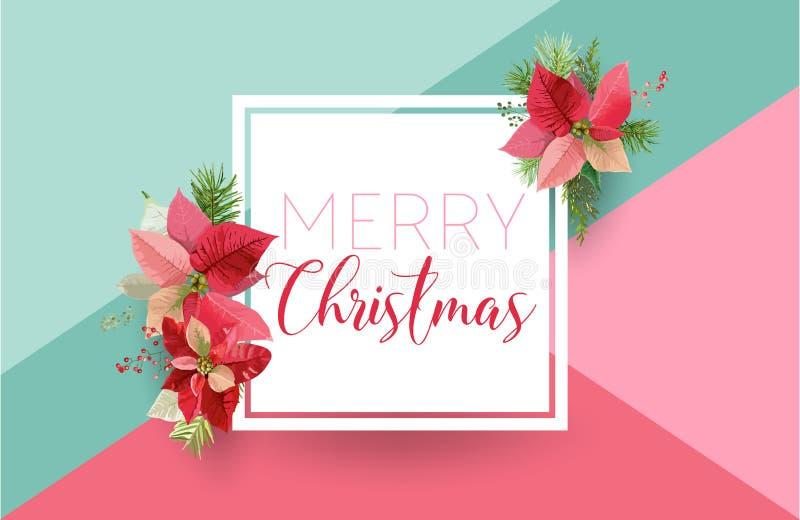 Έμβλημα λουλουδιών χειμερινού Poinsettia Χριστουγέννων, γραφικό υπόβαθρο, Floral πρόσκληση Δεκεμβρίου, ιπτάμενο ή κάρτα Σύγχρονη  ελεύθερη απεικόνιση δικαιώματος