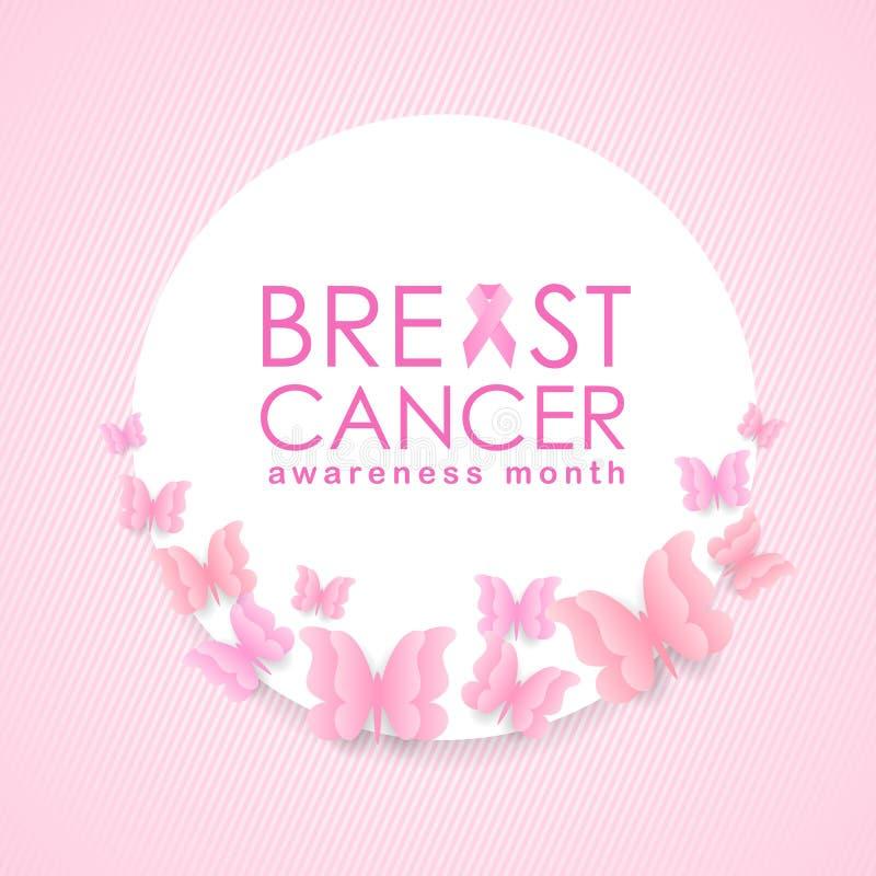 Έμβλημα μήνα συνειδητοποίησης καρκίνου του μαστού με το ρόδινα σημάδι και το κείμενο κορδελλών στον άσπρο κύκλο και πεταλούδα γύρ ελεύθερη απεικόνιση δικαιώματος