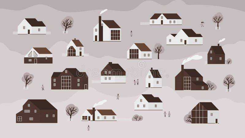 Έμβλημα με τα διάφορα εξοχικά σπίτια της σύγχρονης Σκανδιναβικής αρχιτεκτονικής και των περπατώντας ανθρώπων Υπόβαθρο με την πόλη ελεύθερη απεικόνιση δικαιώματος