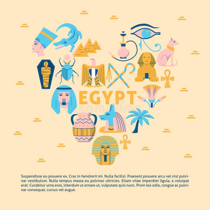 Έμβλημα με τα σύμβολα της Αιγύπτου στο επίπεδο ύφος ελεύθερη απεικόνιση δικαιώματος