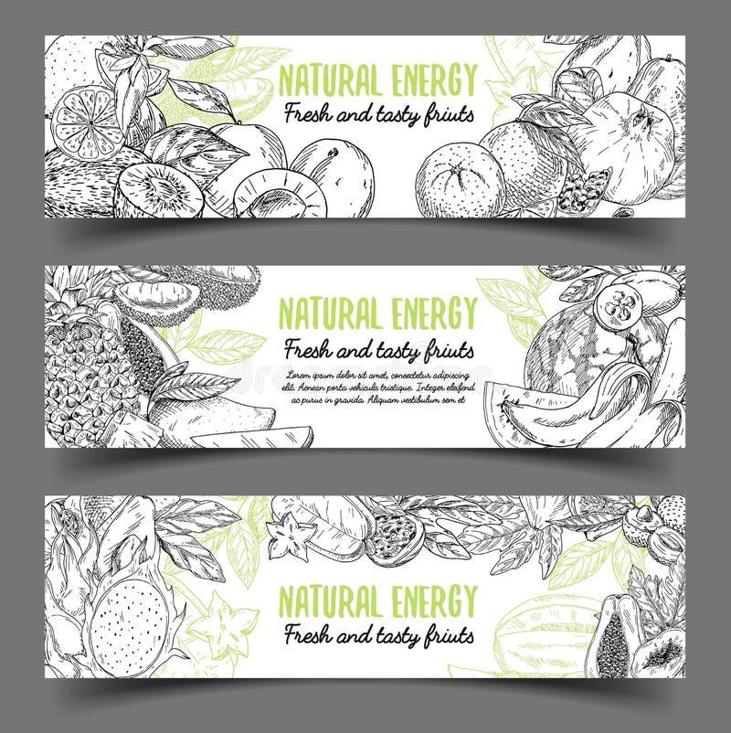 Έμβλημα με τα φυσικά εξωτικά φρούτα ελεύθερη απεικόνιση δικαιώματος
