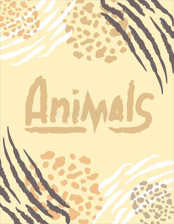Έμβλημα με τη ζωική τυπωμένη ύλη ελεύθερη απεικόνιση δικαιώματος