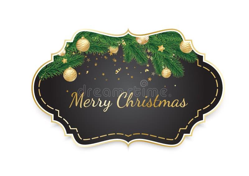 Έμβλημα με τους διανυσματικούς κλάδους χριστουγεννιάτικων δέντρων και διάστημα για το κείμενο διανυσματική απεικόνιση