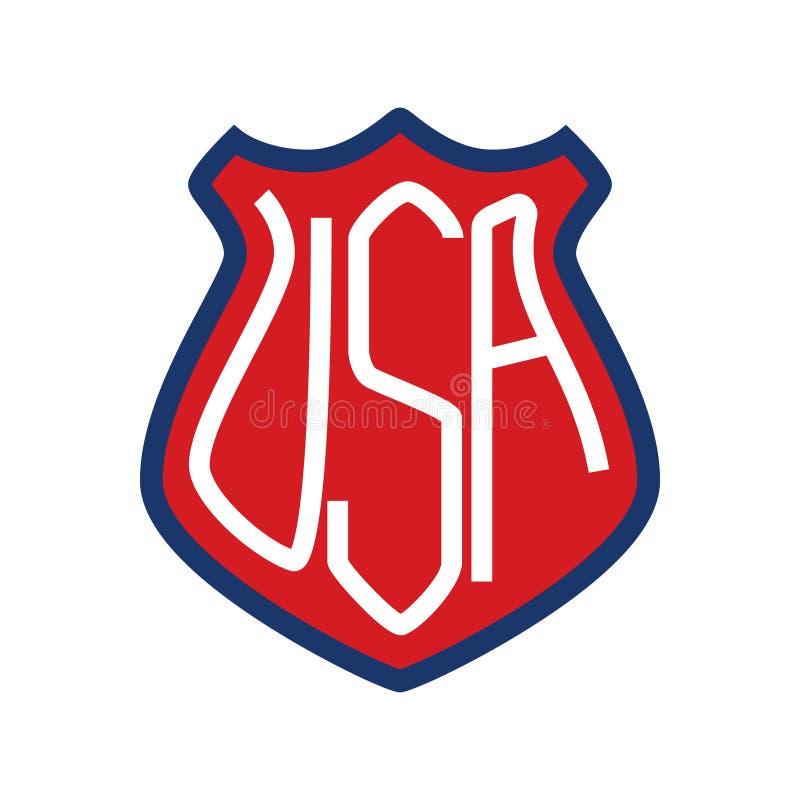 Έμβλημα με το αμερικανικό σύμβολο Στοιχείο σχεδίου για την αφίσα, έμβλημα, μπλούζα ελεύθερη απεικόνιση δικαιώματος