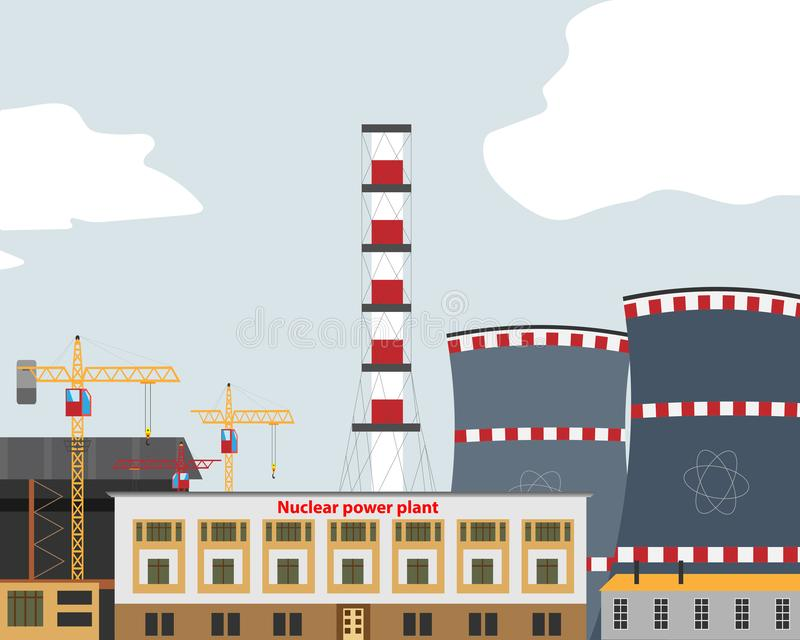 Έμβλημα με το πυρηνικό σταθμό, θερμικός σταθμός Πυρηνικός αντιδραστήρας διανυσματική απεικόνιση